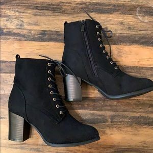 Black lace up heeled booties